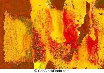 manchas, contraste, rústico, dañado, pared, naranja, ...