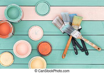 manchas, madera, selección, brochas, colorido
