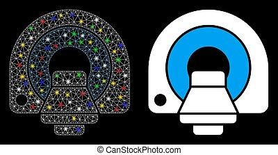 manchas, malha, chama, ícone, mri, rede, luz, equipamento