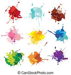 manchas, pintura, blots., tinta