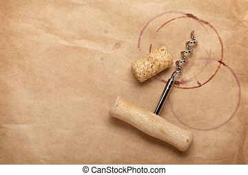 manchas, saca-rolhas, vinho, vermelho, cortiça