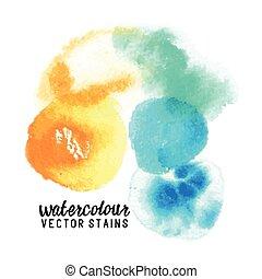 manchas, vetorial, watercolour