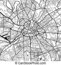 Manchaster, England, Monochrome Map Artprint