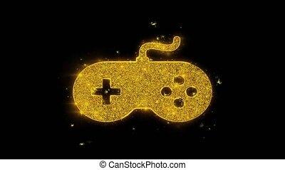 manche balai, noir, arrière-plan., icône, particules, gamepad, étincelles, contrôleur jeu