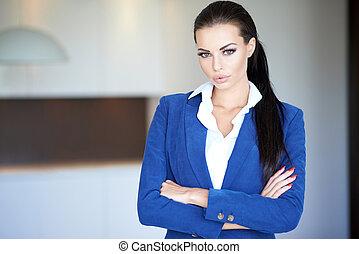 manche, confiant, femme affaires, bleu, long