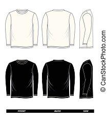 manche, long, t-shirt, noir, gabarit, blanc