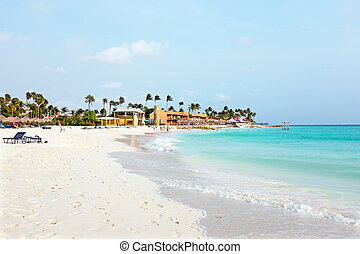 Manchebo beach on Aruba island in the Caribbean