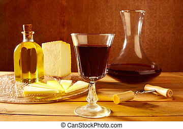 Manchego cheese from Spain in wooden table - Manchego cheese...