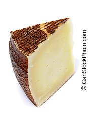cheese - manchego cheese on a white background