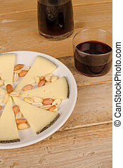 Manchego tapa - Traditional manchego cheese tapa served with...