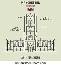 Manchester Cathedral in Manchester, UK. Landmark icon in linear style
