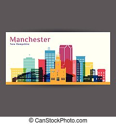 Manchester city architecture silhouette. Colorful skyline.