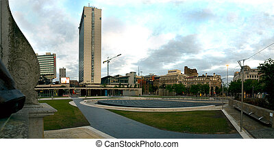 Manchester City Centre Piccadilly Garden Editorial -...