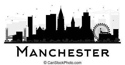 Manchester City skyline black and white silhouette.
