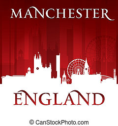 Manchester England city skyline silhouette red background