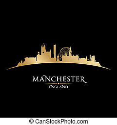 Manchester England city skyline silhouette black background...
