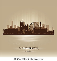 Manchester England skyline city silhouette