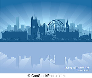 Manchester, England skyline with reflection in water