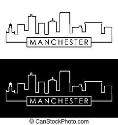 Manchester, New Hampshire skyline. Linear style. Editable...