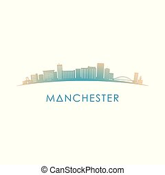 Manchester, New Hampshire skyline silhouette. Vector design...
