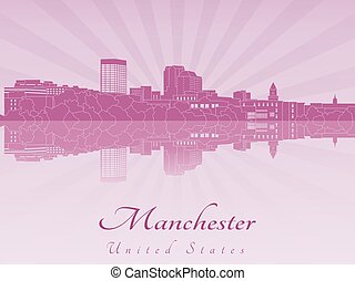 Manchester, NH skyline in purple radiant orchid