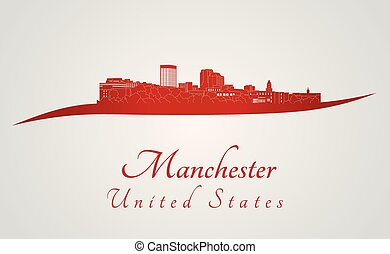 Manchester, NH skyline in red