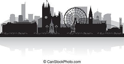 manchester, orizzonte, città, silhouette