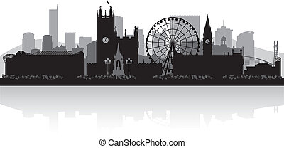 manchester, perfil de ciudad, silueta