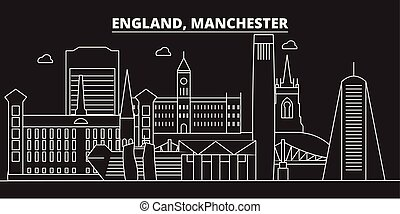 Manchester silhouette skyline. Great Britain - Manchester vector city, british linear architecture. Manchester travel illustration, outline landmarks. Great Britain flat iconbritish line banner
