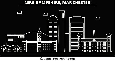 Manchester silhouette skyline. USA - Manchester vector city, american linear architecture, buildings. Manchester travel illustration, outline landmarks. USA flat icons, american line banner