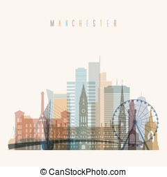 Manchester skyline detailed silhouette.