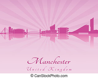 Manchester skyline in purple radiant orchid