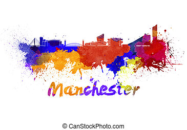 Manchester skyline in watercolor splatters with clipping path