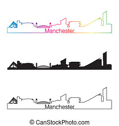 Manchester skyline linear style with rainbow