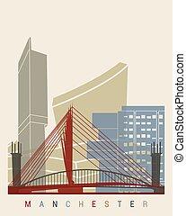 Manchester skyline poster in editable vector file