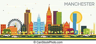 Manchester Skyline with Color Buildings and Blue Sky.