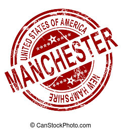 Manchester stamp with white background