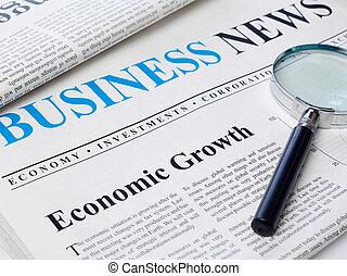 manchete, jornal, crescimento econômico