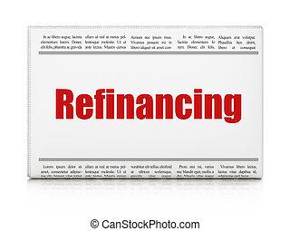 manchete jornal, finanças, concept:, refinancing