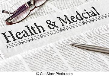 manchete, jornal, saúde médica