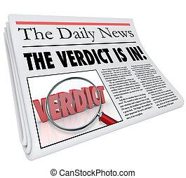 manchete, jornal, veredicto, resposta, julgamento, anunciado