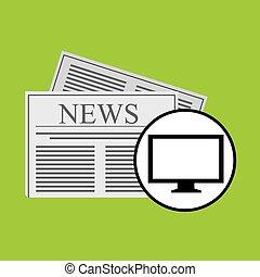 manchete, notícia, conceito, digital, ícone