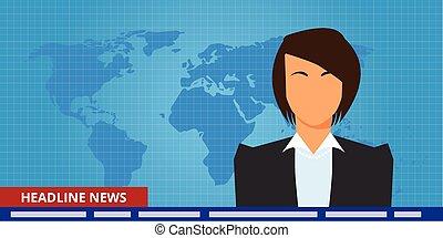 manchete, ou, quebrando notícia, mulher, repórter tv,...