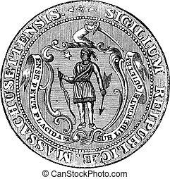 mancomunidad, grabado, grande, unido, vendimia, massachusetts, sello, república, massachusetts, estados, o