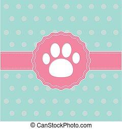 mancs, print., szalag, címke, card., rózsaszínű