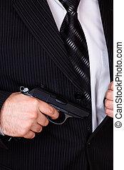 mand, affattelseen, hans, geværet, af, jakke, lomme