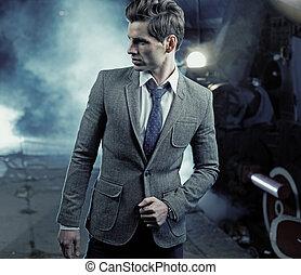 mand, billede, really, farverig, pæn