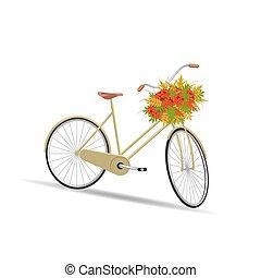 mand, bladeren, volle, fiets, gele