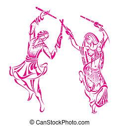 mand, dandiya, kvinde, nat, dansende