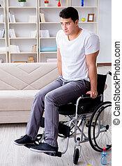 mand disabled, genvinde, af, kvæstelse, hjem hos